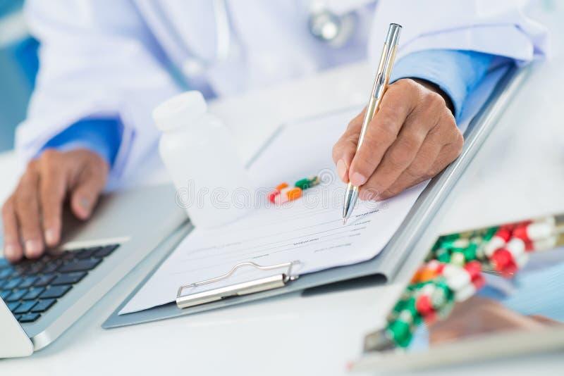 Prescription de médicament image libre de droits