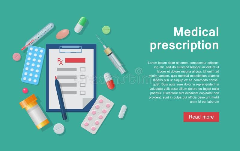 Prescription et approvisionnements de matériel médical infographic illustration stock