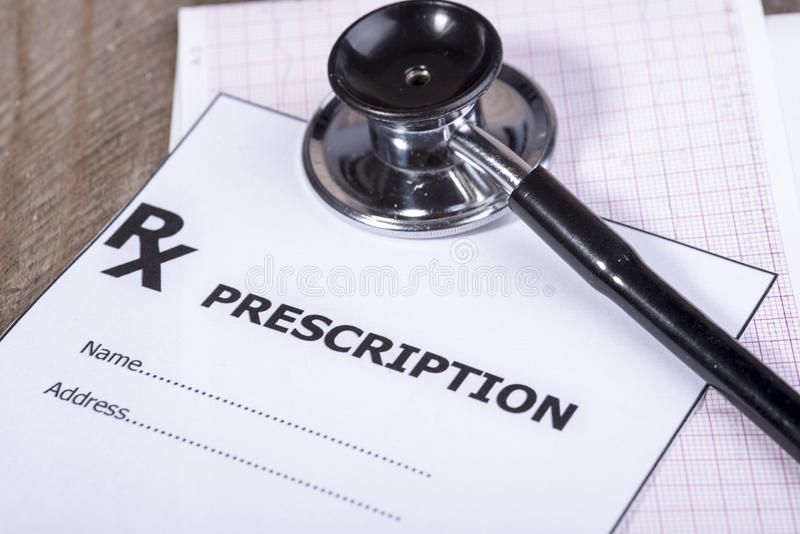 Prescription form with stethoscope. Photo of prescription form with stethoscope stock photos