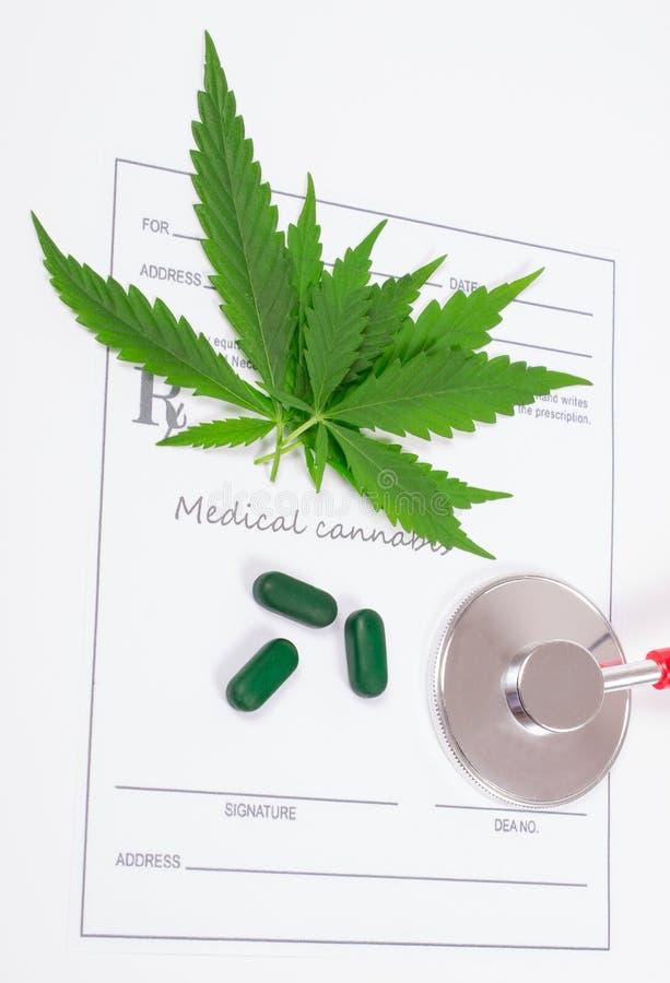 A prescription for medical marijuana. Medical marijuana prescription with stethoscope . CloseUp royalty free stock images