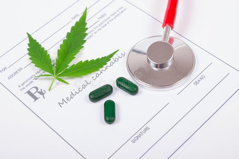 A prescription for medical marijuana. Medical marijuana prescription with stethoscope . CloseUp royalty free stock photos