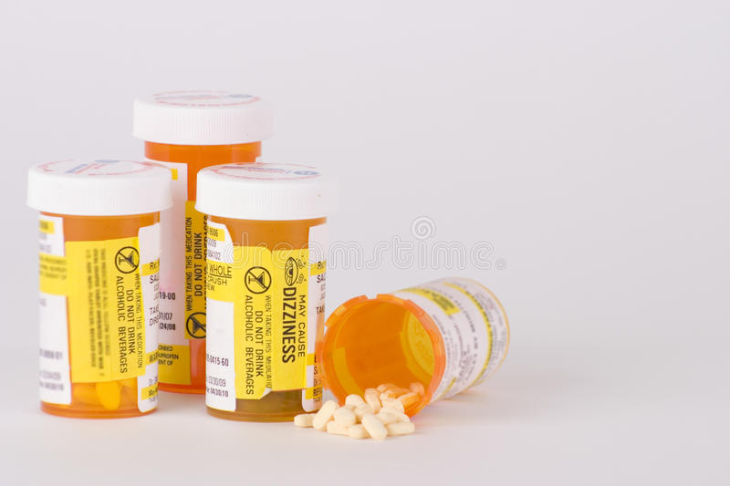 Prescription Medication Pill Bottles 3 stock photo