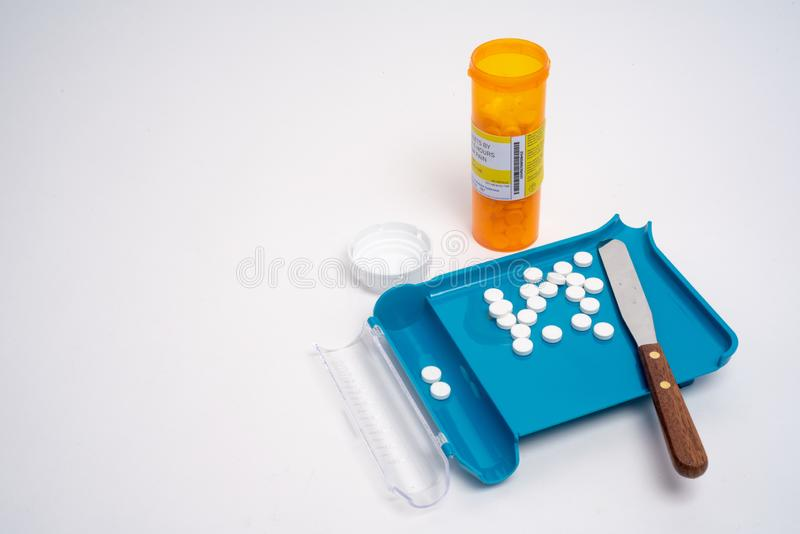 Prescription medication Pill Sorting, Counting and Filling Order royalty free stock photo