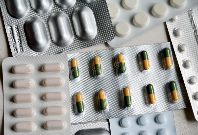 Assortment of different pills royalty free stock photography