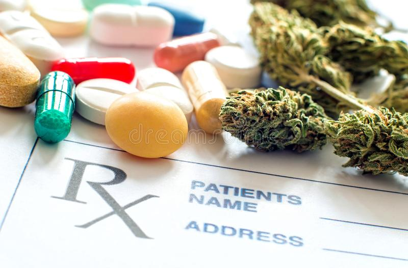 Prescription pills with medical cannabis and prescription paper royalty free stock image