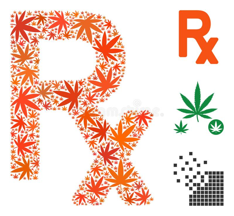 Prescription Symbol Collage Of Marijuana Stock Vector Illustration