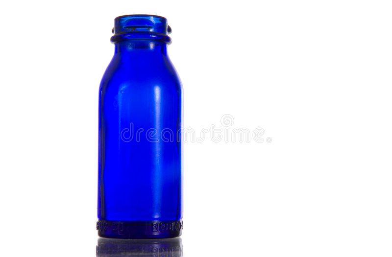 Prescrizione dell'oggetto d'antiquariato dell'azzurro di cobalto - bottiglia della medicina fotografie stock libere da diritti