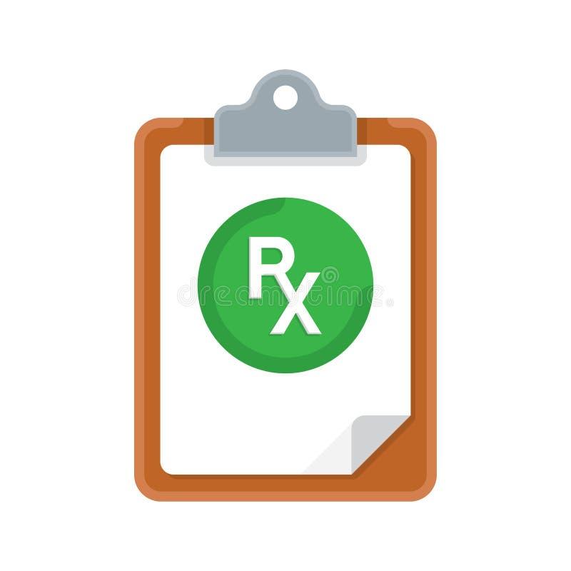 Prescrizione e lavagna per appunti di Rx sopra fondo bianco illustrazione di stock