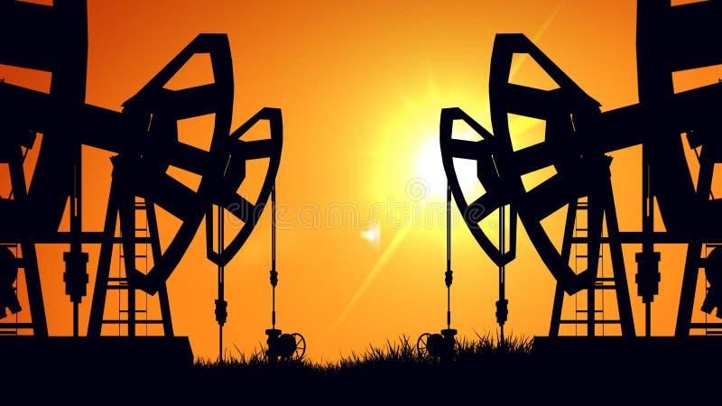 Prese della pompa della siluetta al tramonto Perforando in Siberia ad ovest Olio royalty illustrazione gratis