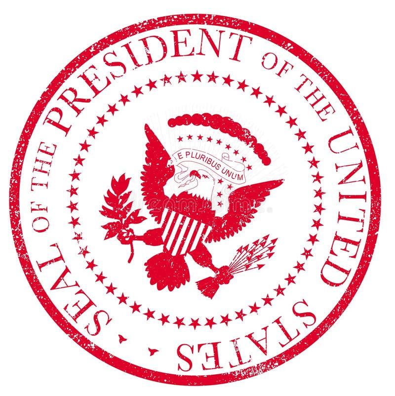 Presedent-Dichtung roter Ruber-Tinten-Stempel stock abbildung