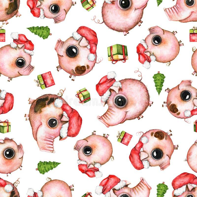Presen het waterverf naadloze patroon met varkens, Kerstboom en royalty-vrije illustratie