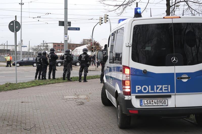 presencia policial em Magdeburgo fotografia de stock