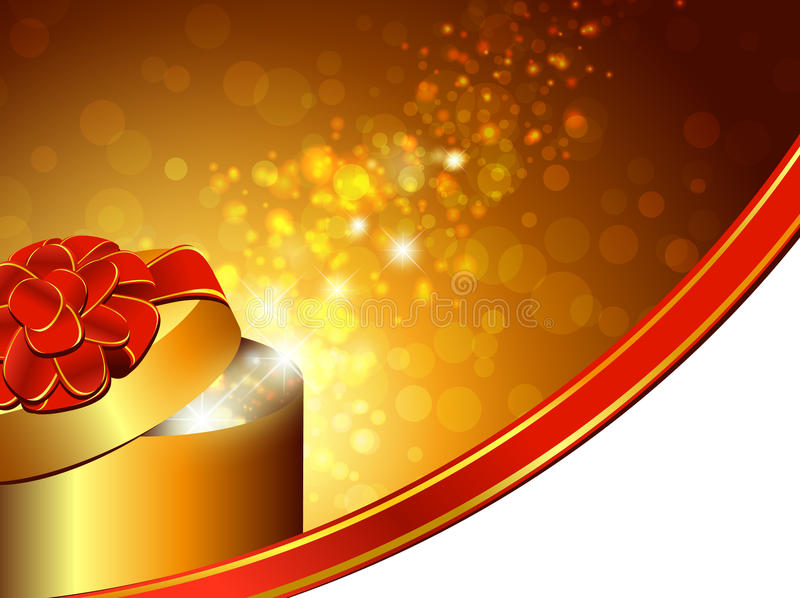 Present. Gift box with red bow over bright holiday background royalty free illustration