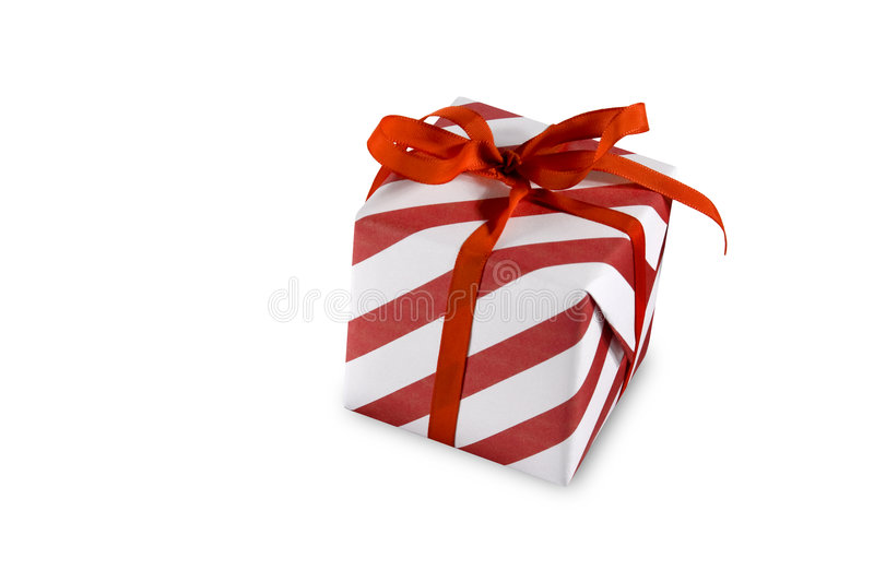 Present. Red present (gift, giveaway) on white background stock photo