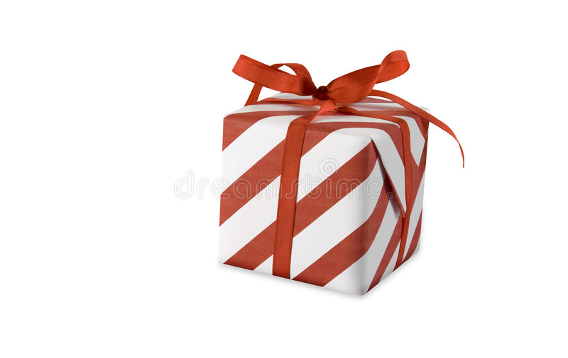 Present. Red present (gift, giveaway) on white background royalty free stock images
