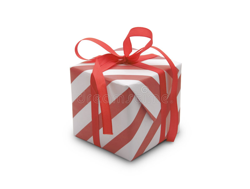Present. (gift, giveaway) on white background stock photo