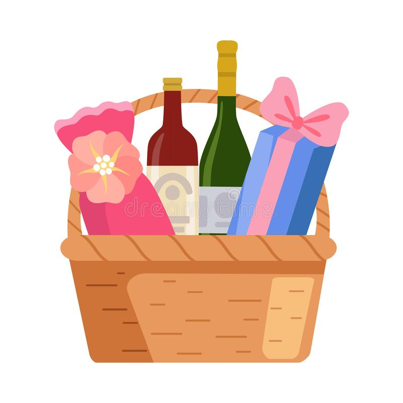 Present Basket with Alcohol Bottle and Gifts, Birthday, Xmas, Wedding, Anniversary Celebration Design Element Vector. Illustration on White Background vector illustration