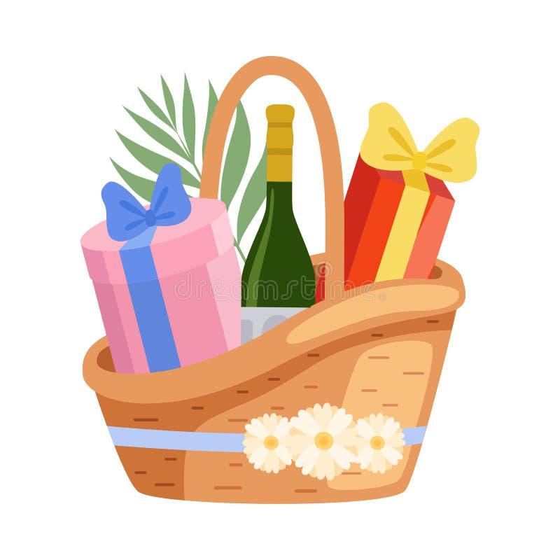 Present Basket Full of Gifts and Alcohol Bottle, Birthday, Xmas, Wedding, Anniversary Celebration Design Element Vector. Illustration on White Background royalty free illustration