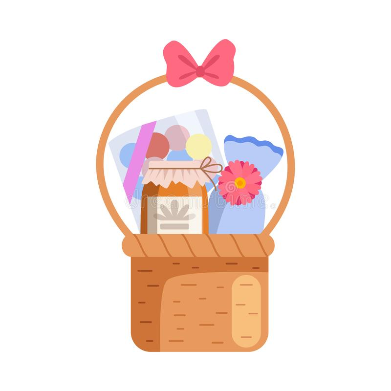 Present Basket Full of Gifts, Birthday, Xmas, Wedding, Anniversary Celebration Design Element Vector Illustration. On White Background royalty free illustration