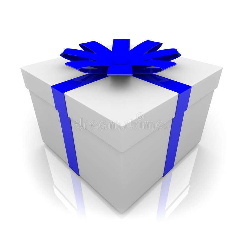 Present with Blue Ribbon. A white wrapped gift box with blue ribbon and bow royalty free illustration