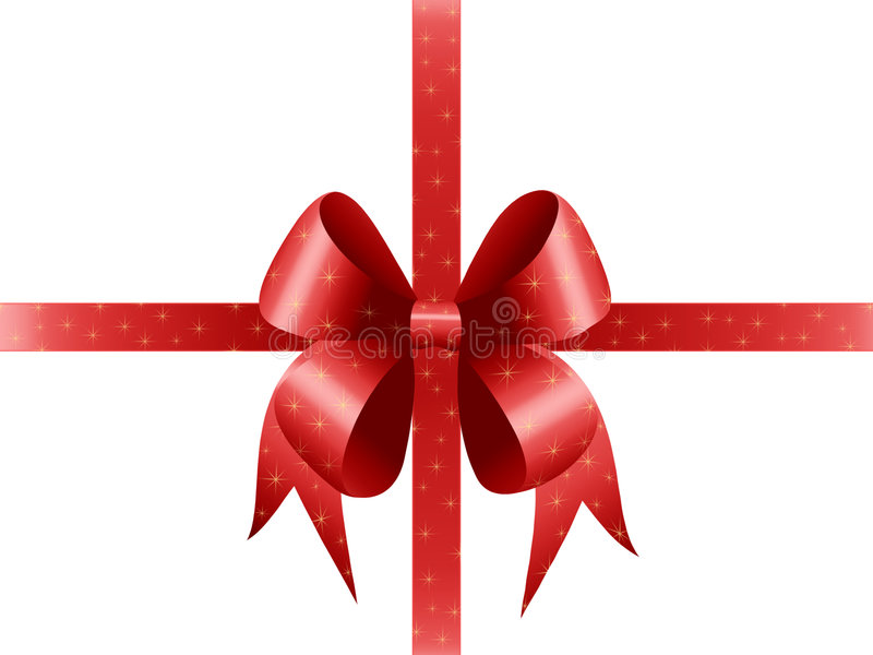 Present, bow and sparkles royalty free illustration