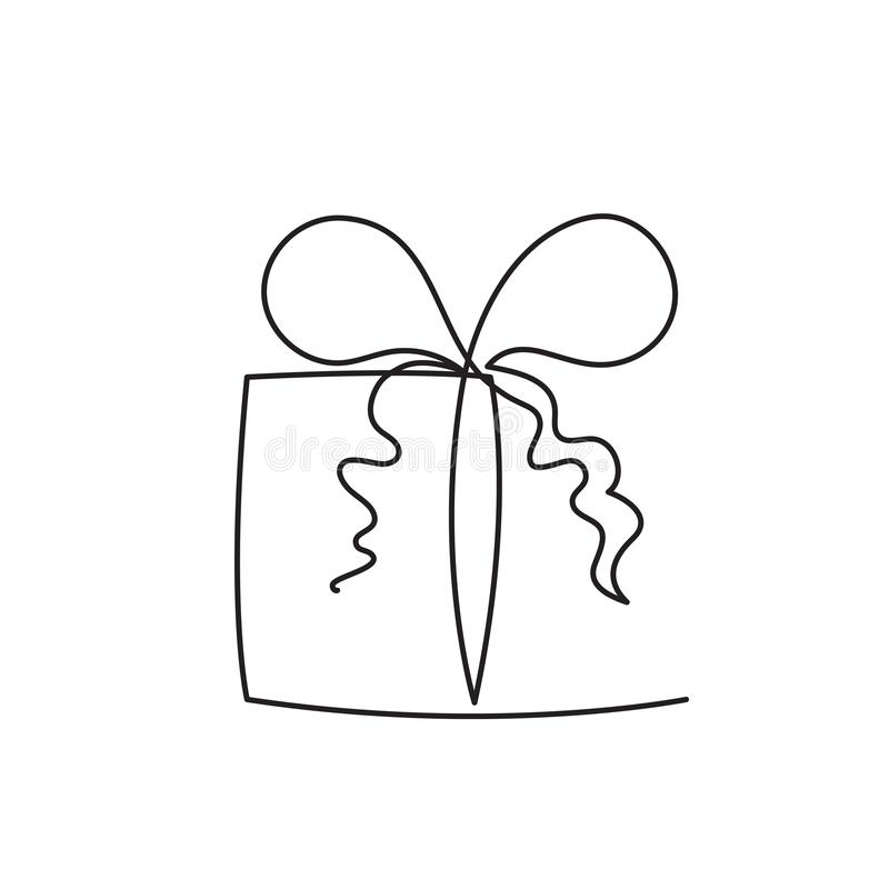 Free Present Box Continuous Editable Line Vector Illustration - Wrapped Surprise Package With Ribbon And Bow. Stock Image - 125262761