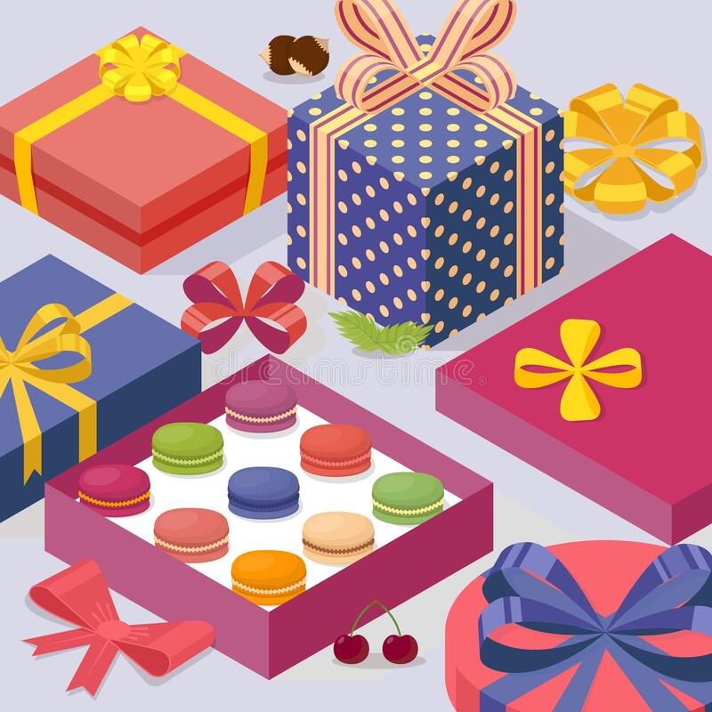 Present box with macarons, vector illustration. Decorative gift boxes in isometric perspective, birthday package. French. Macaroon sweet confection, tasty vector illustration
