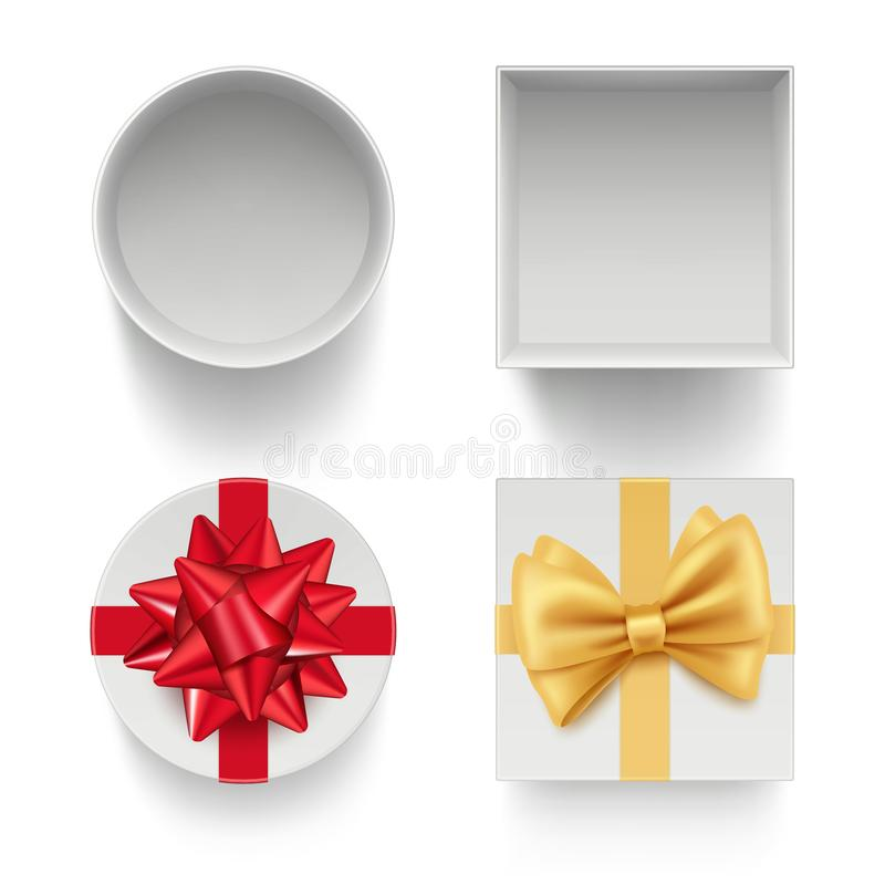 Present boxes with bows. Gifts celebration packages with colored ribbons red and golden vector template isolated. Illustration of gift box to birthday holiday vector illustration