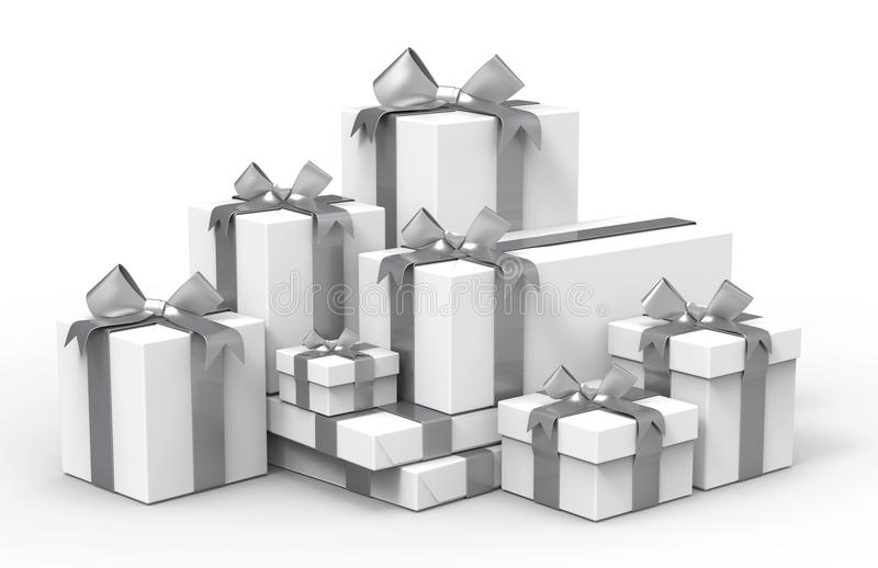 Present boxes,3d. Present boxes are modelled and rendered vector illustration