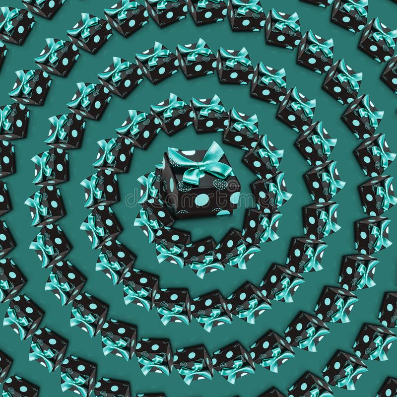 Present boxes spiral green pattern. Wrapped gifts with bows and ribbons. Realistic 3d present boxes spiral green pattern. Top view vortex. Wrapped gifts with royalty free illustration