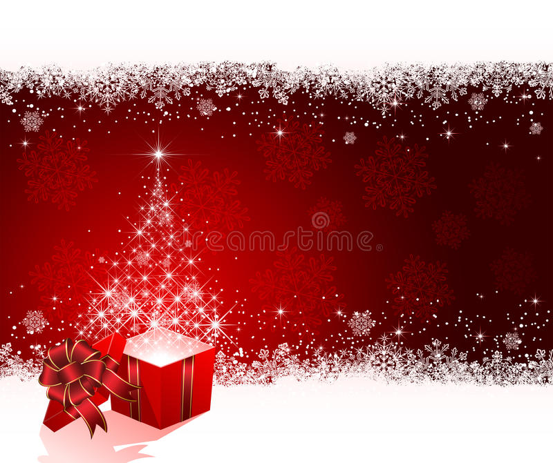 Present with Christmas tree from stars on red back stock illustration
