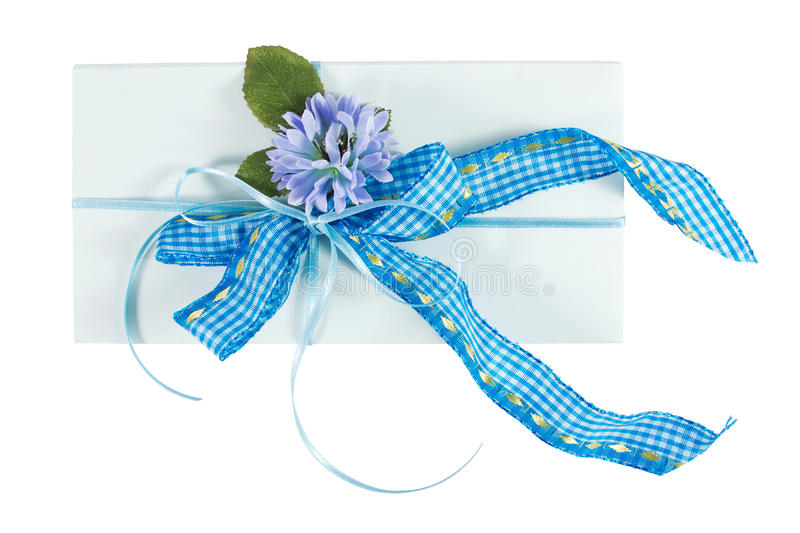 Present envelope. With decoration over a white background royalty free stock photo