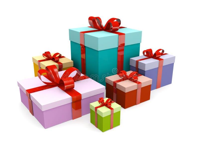 present för gåva för askjul färgrik vektor illustrationer