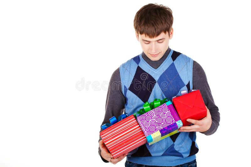 Present gift holding man stock photography