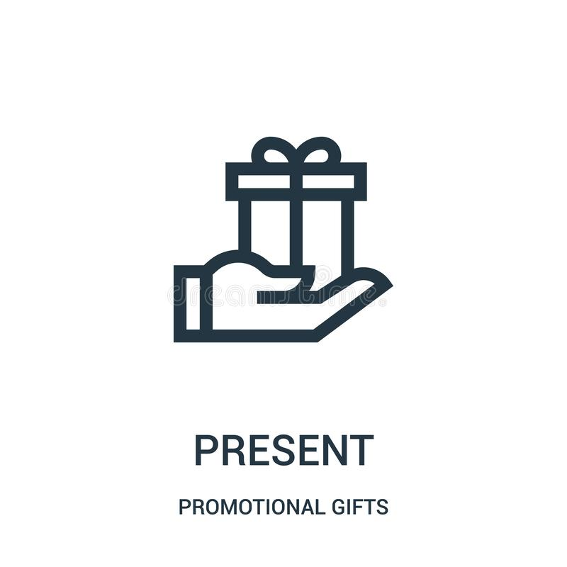 Present icon vector from promotional gifts collection. Thin line present outline icon vector illustration. Linear symbol for use. On web and mobile apps, logo stock illustration