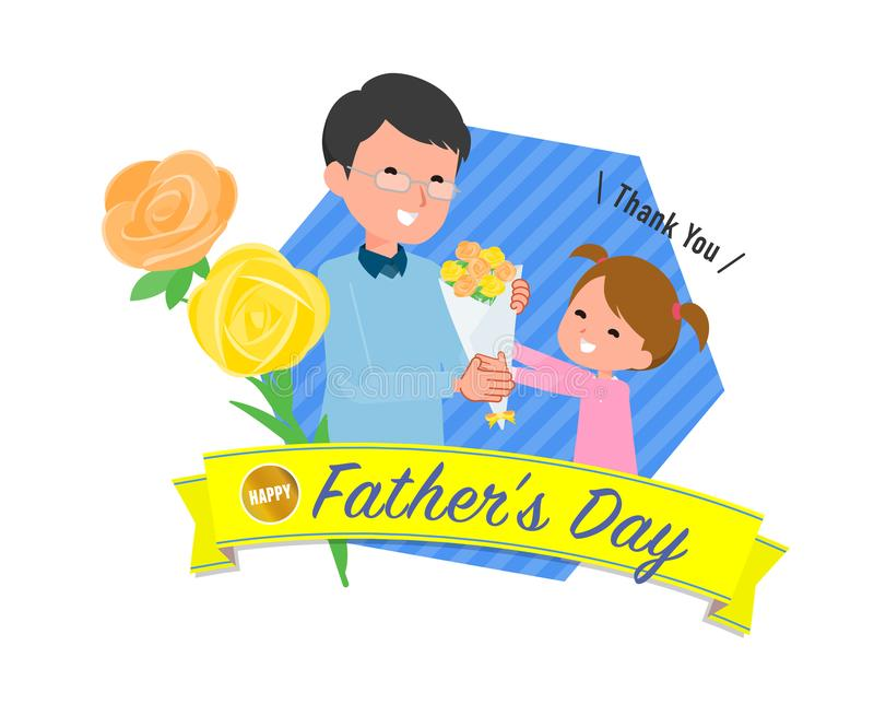 Present for loved ones_Daughter give to father stock illustration