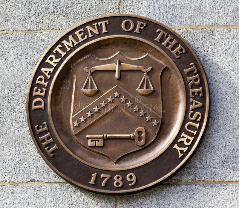 Present Seal Sign Symbol US Treasury Department Washington DC. Present Bronze Seal Sign Symbol US Treasury Department adopted in 1968. This seal has been used royalty free stock photo