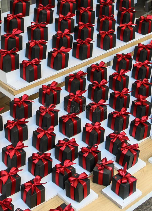 The present for special moment. The boxes of present with red ribbon stock photo