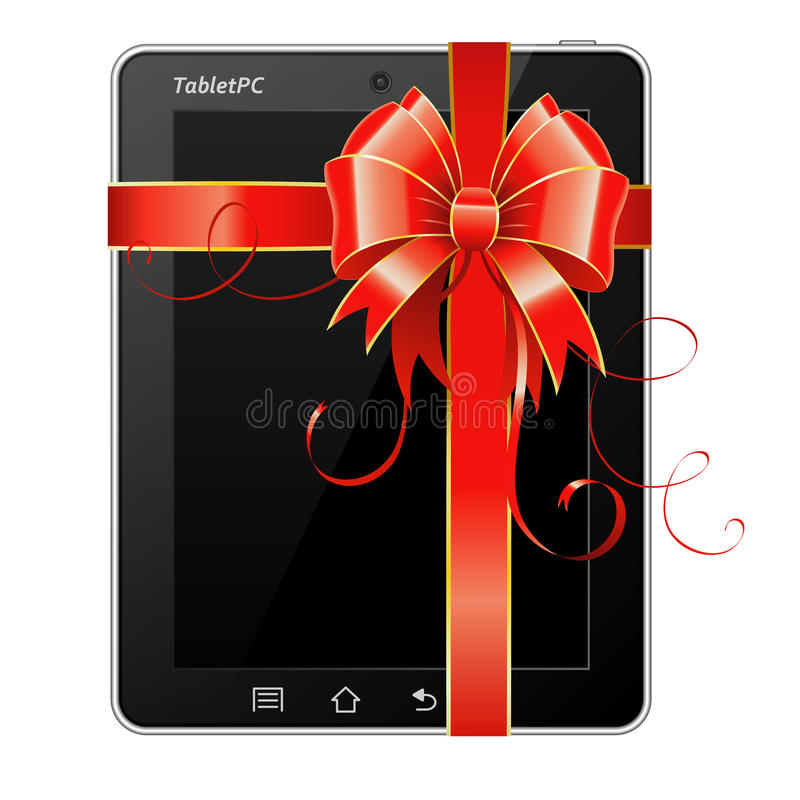 Download Present Tablet PC with Bow stock vector. Illustration of computer - 23321122