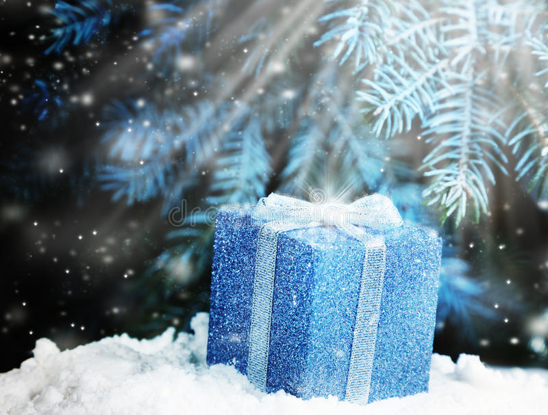 Present under the Christmas tree royalty free stock image