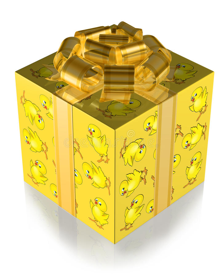 Present Yellow with Chickens and Gold band royalty free illustration