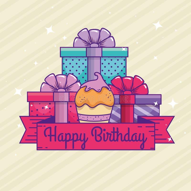 Presenta i regali con il muffin ed il nastro al buon compleanno royalty illustrazione gratis