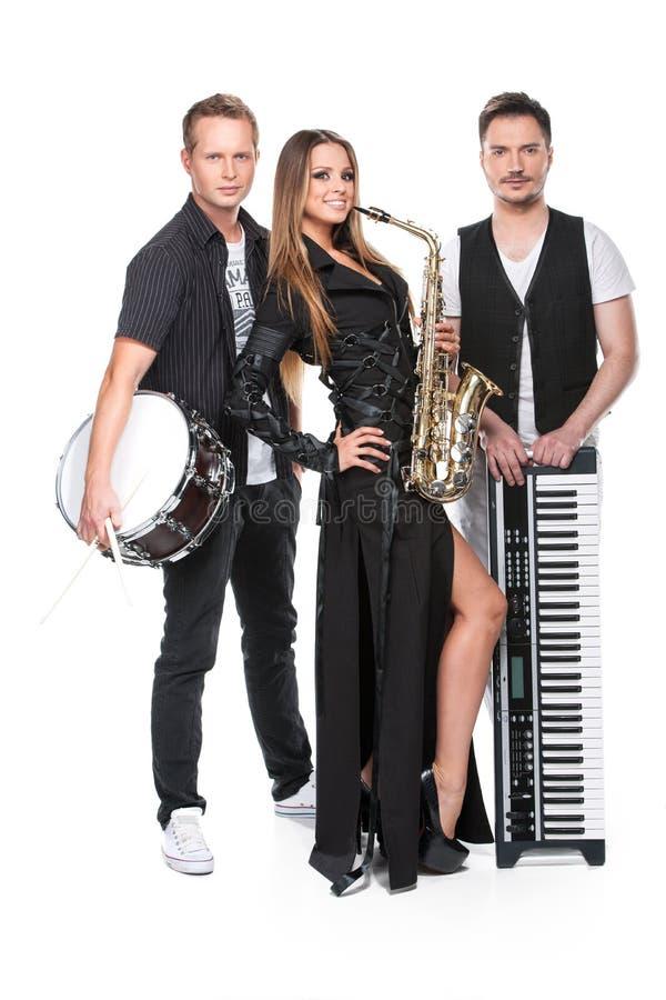 Presentación atractiva de la banda elegante de la música. fotografía de archivo