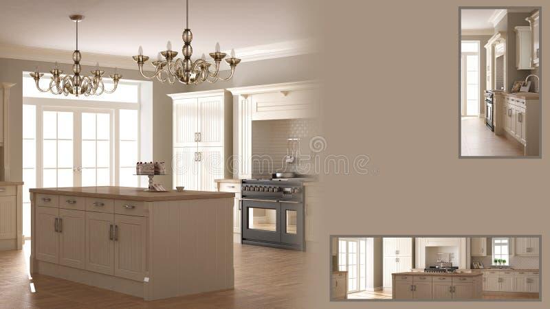 Presentación clásica de la cocina con el espacio y los detalles primer, idea del concepto del interiorista del arquitecto, texto  stock de ilustración