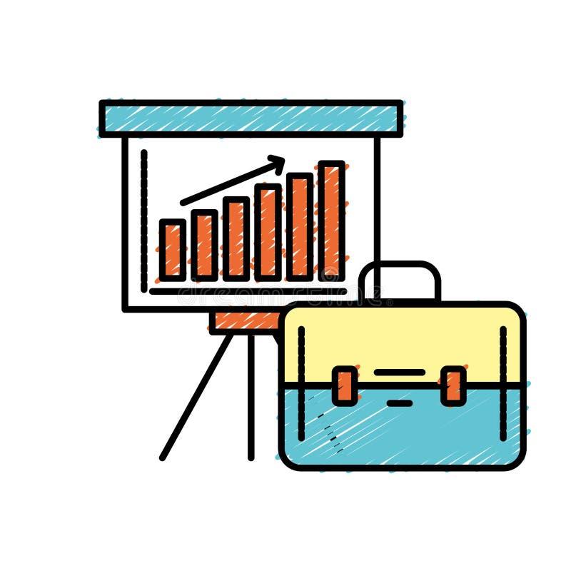 Presentación con el diagrama y la cartera de la barra de las estadísticas stock de ilustración