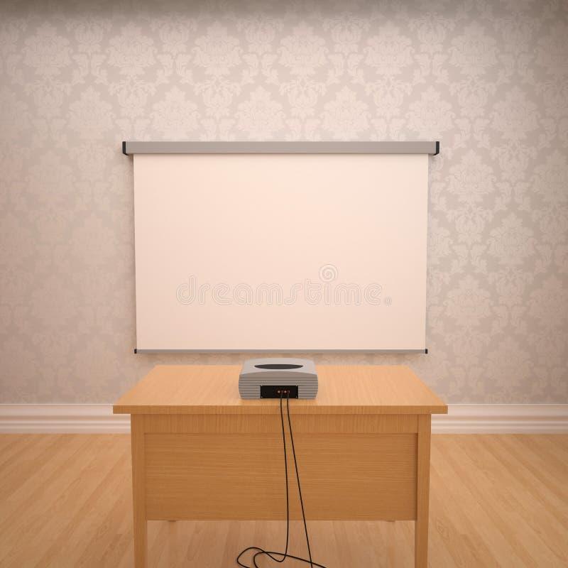 Presentación con el proyector vacío para las reuniones ilustración del vector