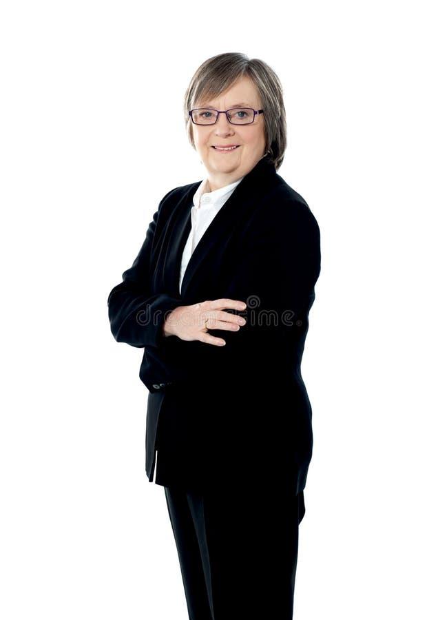 Presentación corporativa mayor confidente de la mujer fotos de archivo libres de regalías