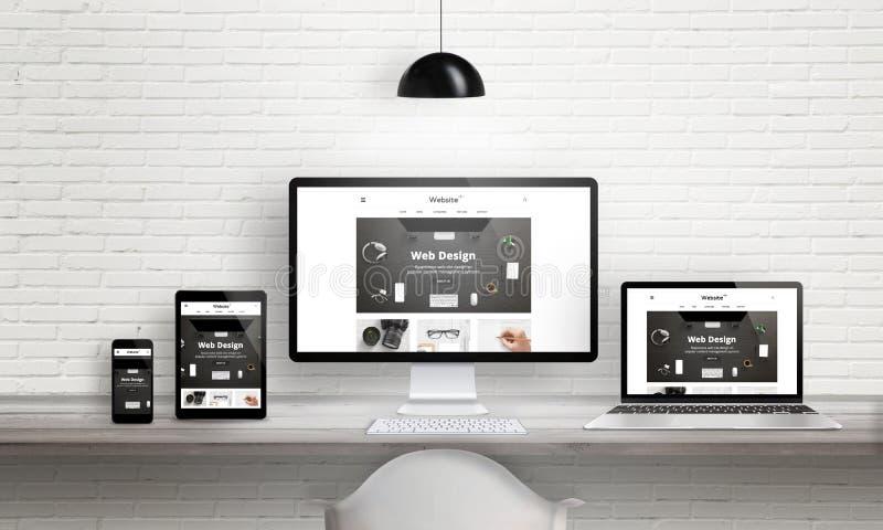 Presentación creativa de la agencia del diseño web en los dispositivos múltiples ilustración del vector