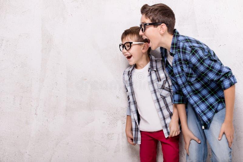 Presentación de dos hermanos jovenes foto de archivo