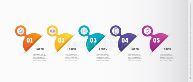 Presentación de la cronología, del negocio o infographic con 5 opciones V ilustración del vector
